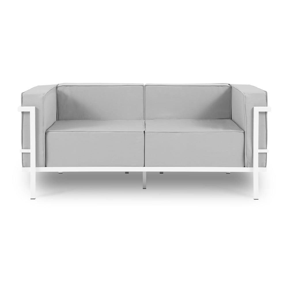 Szara 2-osobowa sofa ogrodowa w białej ramie Calme Jardin Cannes