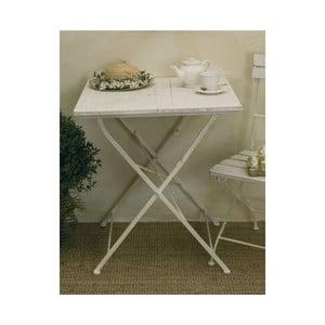 Stolik z drewnianym blatem Lodge, biały
