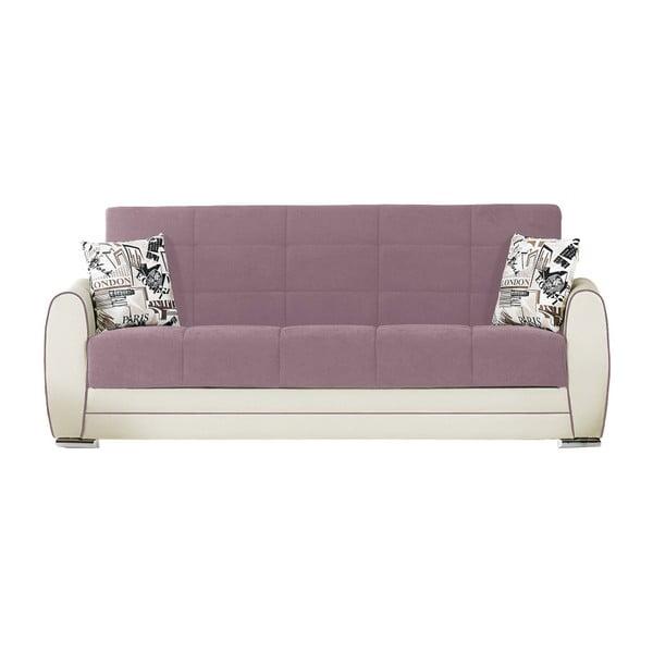 Fioletowo-kremowa trzyosobowa sofa rozkładana ze schowkiem Esidra Rest