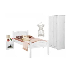 Komplet 3 białych mebli do sypialni z drewna sosnowego Støraa Bangor