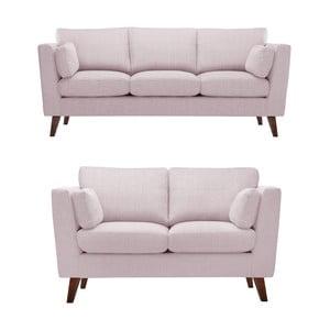 Pastelowo różowy zestaw 2 sof dwuosobowej i trzyosobowej Jalouse Maison Elisa