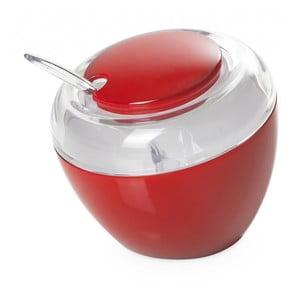 Czerwona cukierniczka z łyżeczką