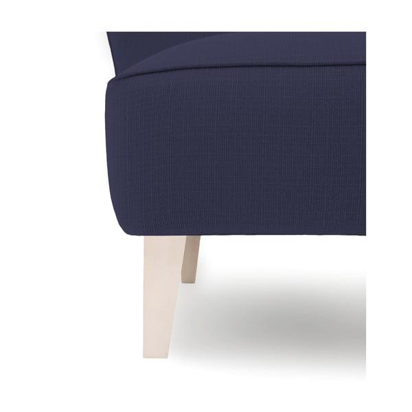 Granatowy fotel z jasnymi nogami Vivonita Sandy