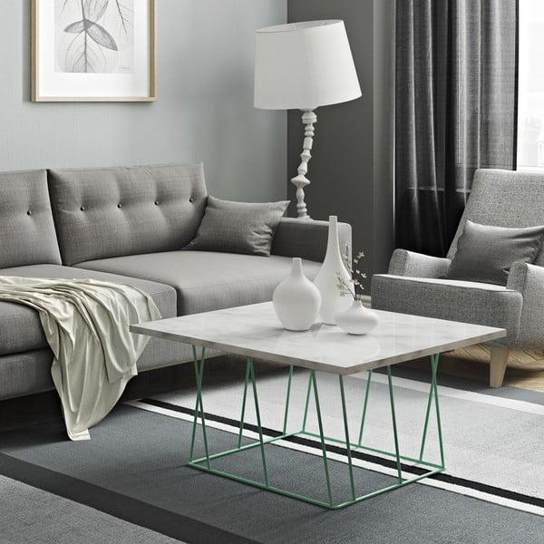 Biały stolik marmurowy z zielonymi nogami TemaHome Helix, 75 cm