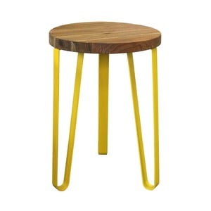 Stolik z żółtymi nogami z drewna wiązu i metalu Red Cartel Sandy