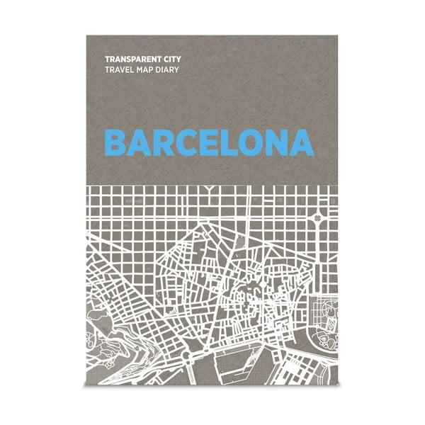 Mapa Barcelony z przezroczystymi kartkami na notatki Transparent City