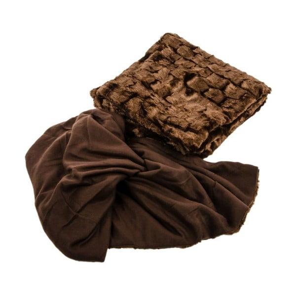 Futrzana narzuta, brązowa, 210x230 cm