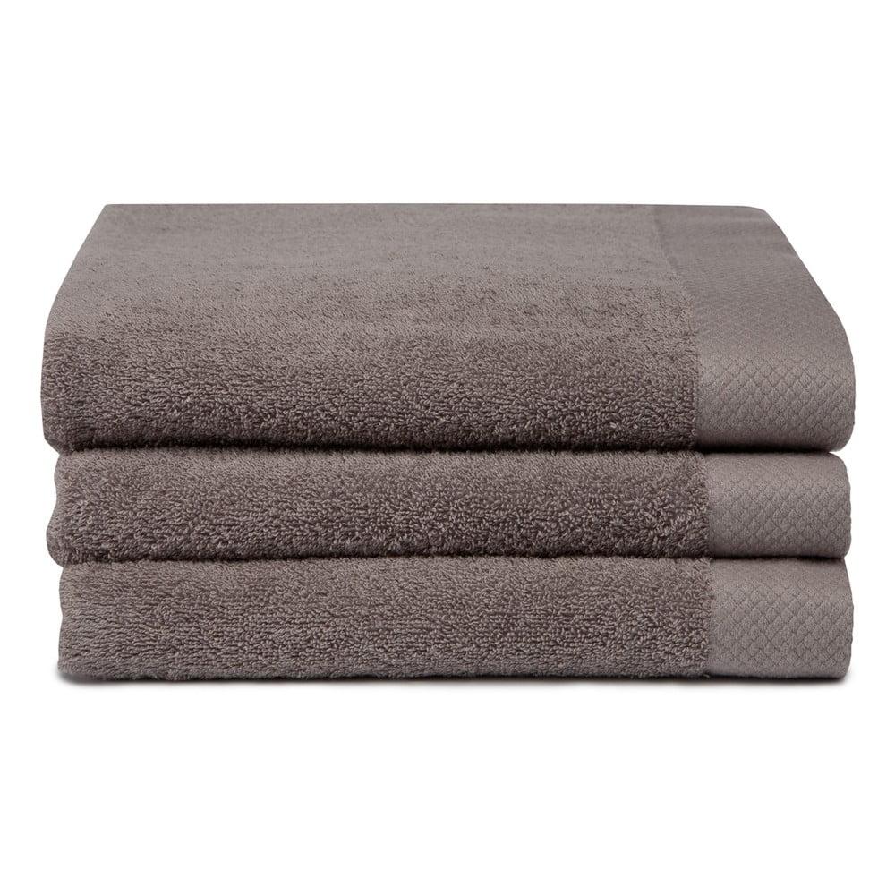 Komplet 3 Brązowych Ręczników Z Bawełny Organicznej Pure Cement 60x110 Cm Bonami