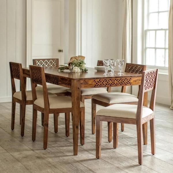 Stół z litego drewna palisandru Massive Home Rosie, 90x200 cm