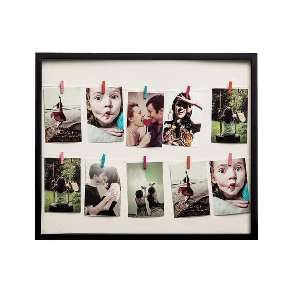 Ramka na zdjęcia z klamerkami Black Peg, 30x63 cm