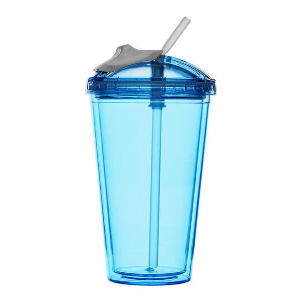 Niebieski kubek na smoothie ze słomką Sagaform