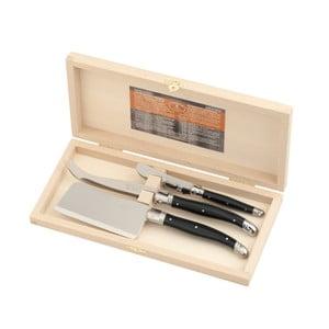 Zestaw 3 czarnych noży do serów w drewnianym opakowaniu Jean Dubost