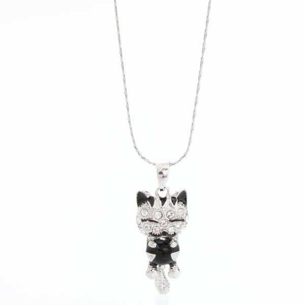 Naszyjnik Swarovski Elements, czarna kotka, uśmiechnięta