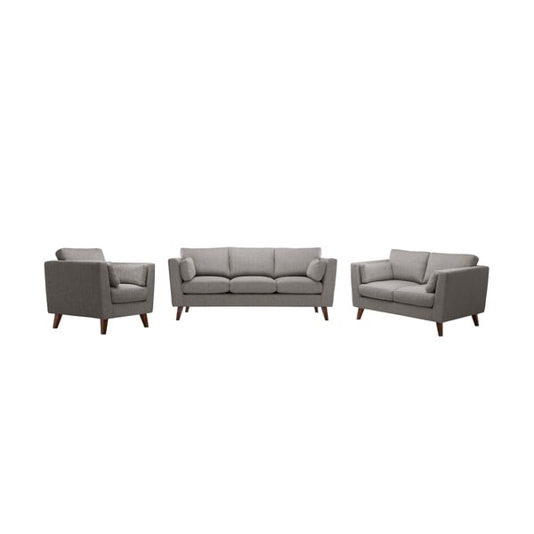 Zestaw fotela i 2 sof dwuosobowej i trzyosobowej Elisa, szarobrązowa