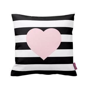 Czarno-biała   poduszka Stripes Pink, 43x43cm