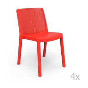 Zestaw 4 czerwonych krzeseł ogrodowych Resol Fresh