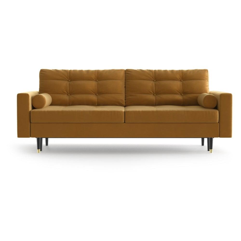 Musztardowa aksamitna rozkładana sofa Daniel Hechter Home Aldo