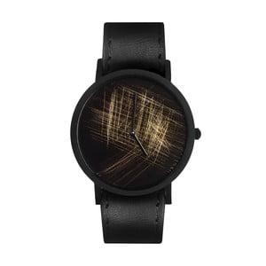 Zegarek unisex z czarnym paskiem South Lane Stockholm Avant Gold Scratch