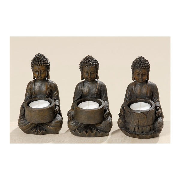Zestaw 3 świeczników Buddha