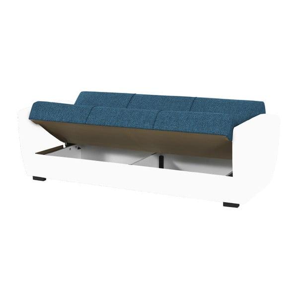 Niebiesko-biała trzyosobowa sofa rozkładana ze schowkiem Esidra Comfort