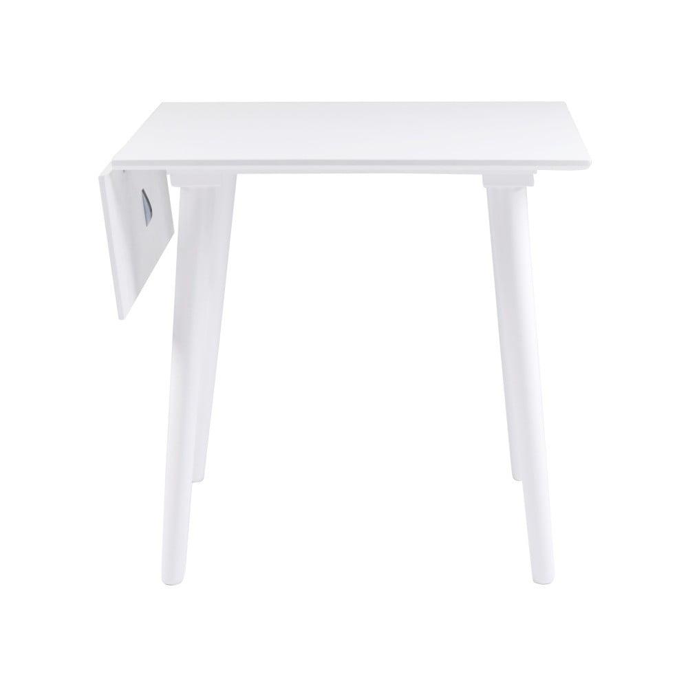 Biały stół z litego drewna dębowego Rowico Lotte Leaf, 80x80cm