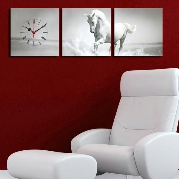 Obraz z zegarem Biały Koń