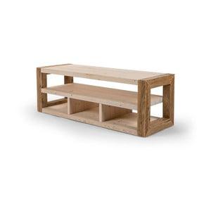 Szafka drewniana pod TV z jasnymi detalami Antique Wood, dł.103cm