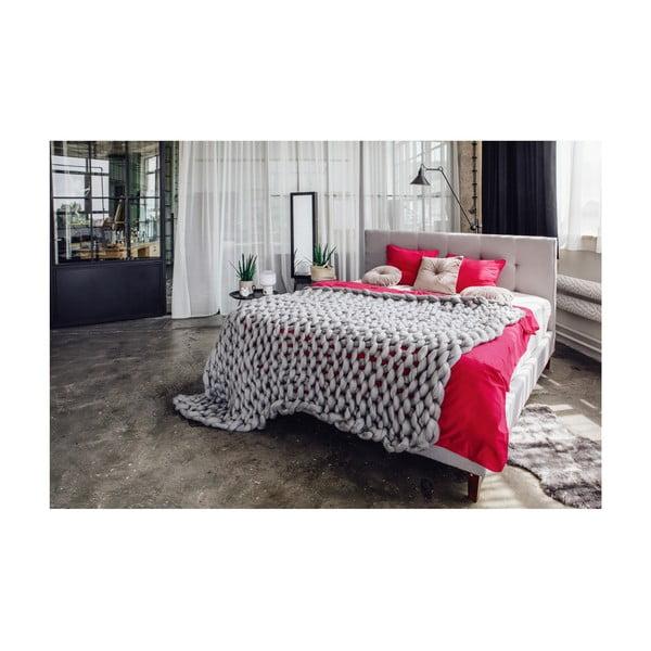 Jasnoszare łóżko 2-osobowe Chez Ro Skagen, 180x200 cm