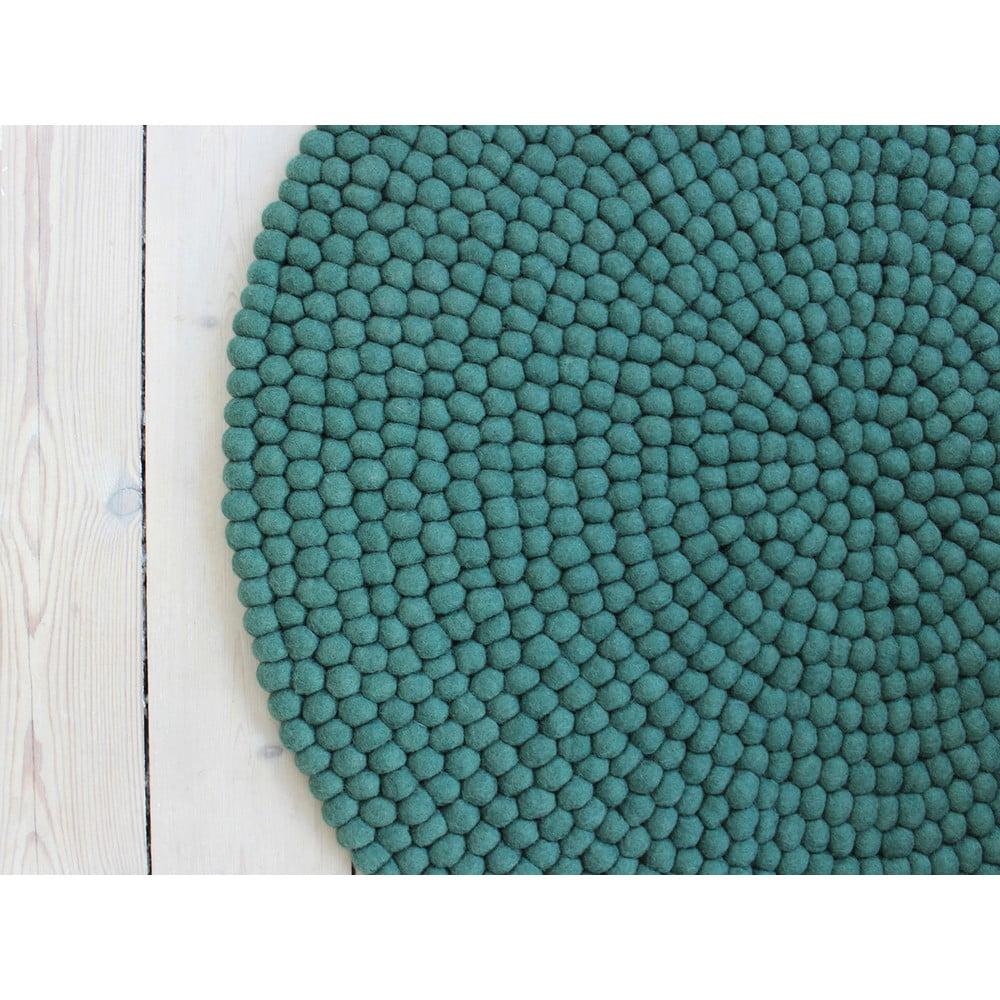 Antracytowy wełniany dywan kulkowy Wooldot Ball Rugs, ⌀ 120 cm
