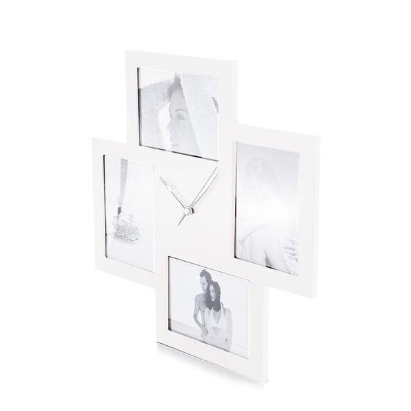 Biały zegar z 4 ramkami na zdjęcia Tomasucci Collage
