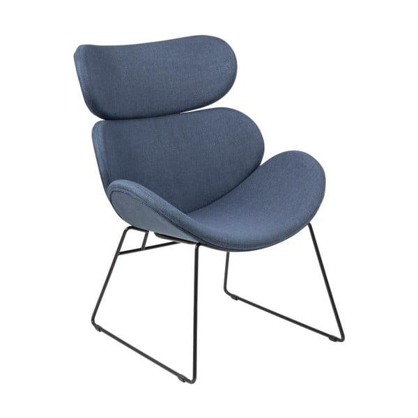 Granatowy fotel z czarnymi nogami Actona Cazar