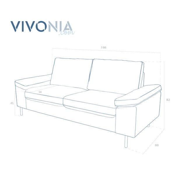 Antracytowa sofa dwuosobowa Vivonita Nathan