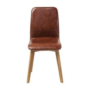 Brązowe krzesło skórzane Kare Design Lara