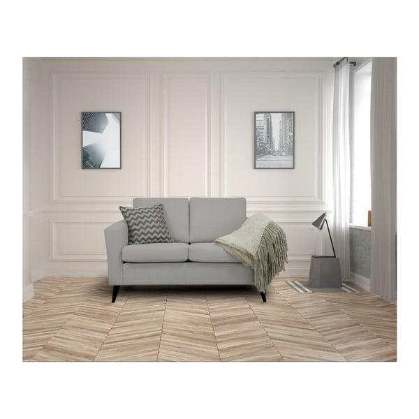 Jasnoszara sofa 2-osobowa z czarnymi nogami Helga Interiors Alex