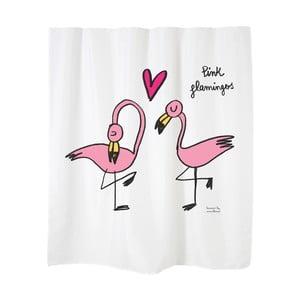 Zasłona prysznicowa Flamingos White