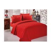 Czerwona bawełniana narzuta dwuosobowa Single Pique Rojo, 200x234 cm