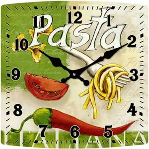 Szklany zegar Pasta, 30x30 cm
