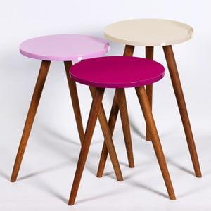 Zestaw 3 stolików Kate Louise Round (fioletowy, różowy, kremowy)