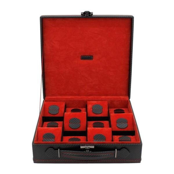 Czarno-czerwone pudełko na 12 zegarków Friedrich Lederwaren Carbon