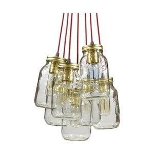 Lampa wisząca JamJar Lights, siedem bordowych kabli