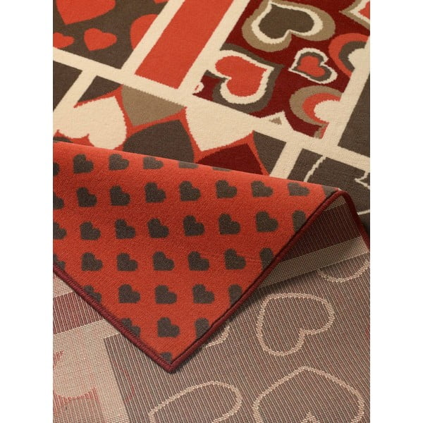 Dywan City & Mix - czerwony w serca, 140x200 cm
