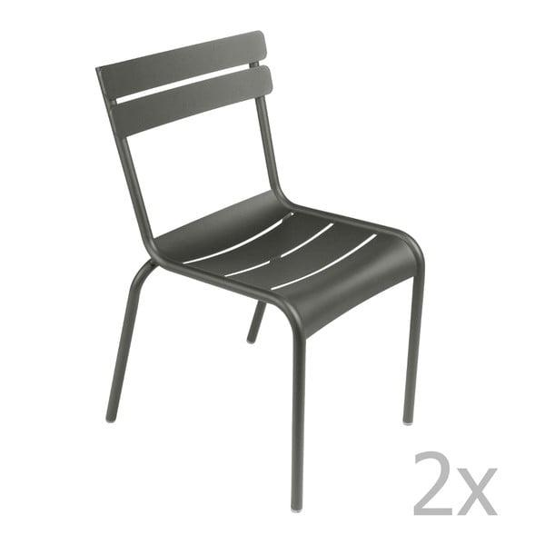 Zestaw 2 szarych krzeseł Fermob Luxembourg