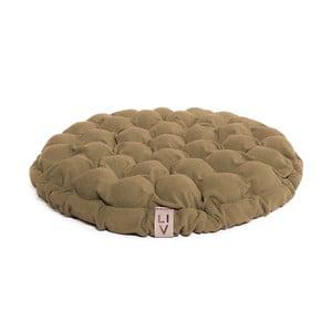 Ciemnobeżowa poduszka do siedzenia wypełniona piłeczkami do masażu Linda Vrňáková Bloom, Ø 65 cm