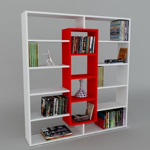 Biblioteczka Ample White/Red, 22x125x135,7 cm