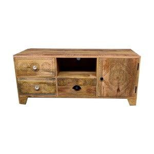 Szafka pod TV z litego drewna mango z 3 szufladami Massive Home Ella
