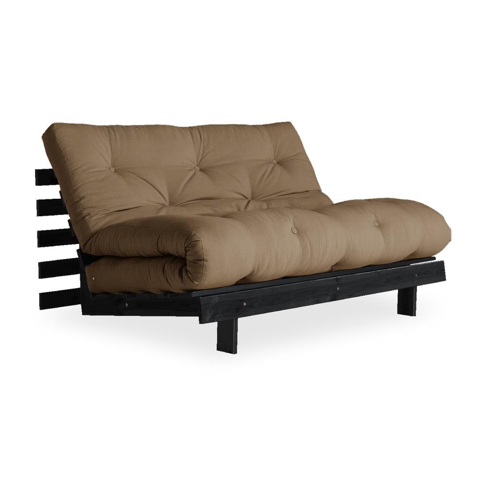 Sofa rozkładana z brązowym pokryciem Karup Design Roots Black/Mocca