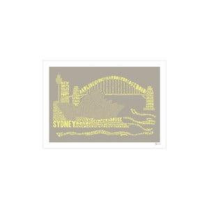 Plakat Sydney Grey&Yellow, 50x70 cm