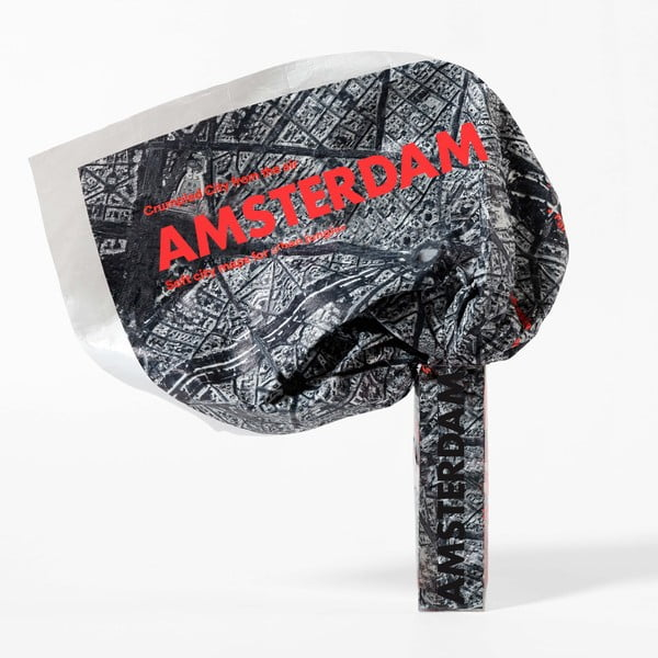 Zgnieciona mapa satelitarna Amsterdamu