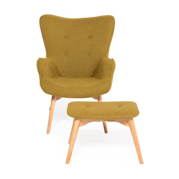 Musztardowy fotel z podnóżkiem Vivonita Cora Velver