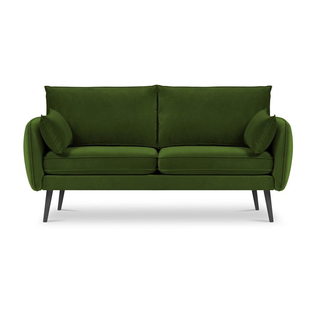 Zielona aksamitna sofa z czarnymi nogami Kooko Home Lento, 158 cm